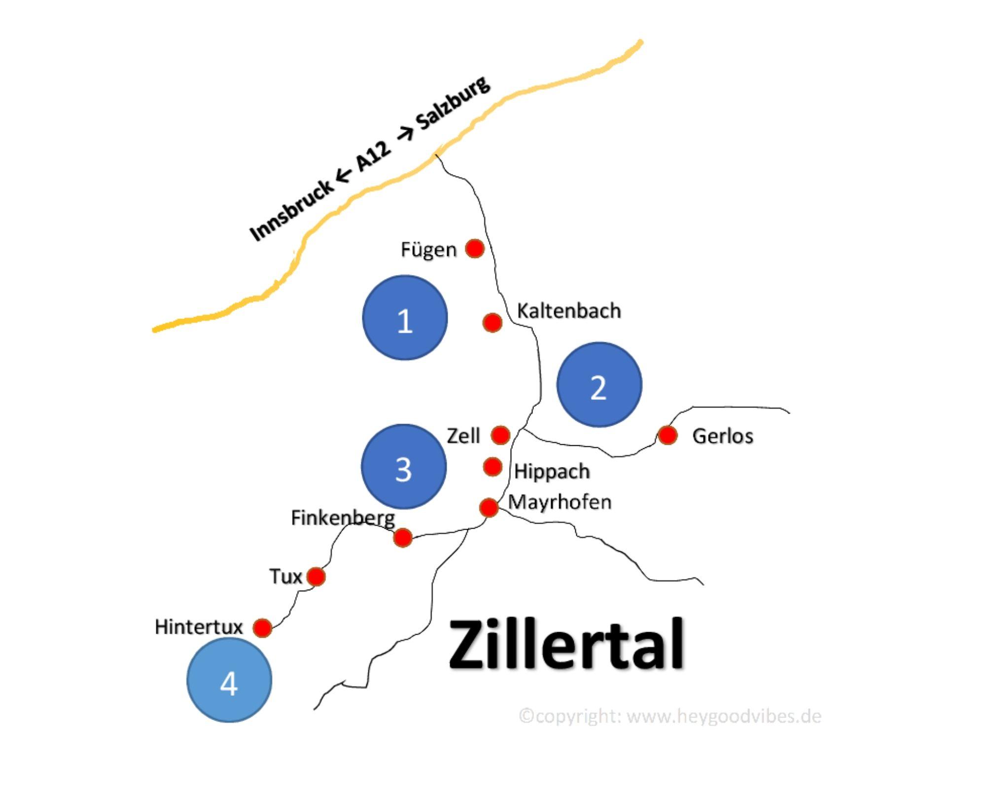 Karte Zillertal Skigebiete
